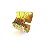African Brass Engraved Medium Sized Open Ended Cuff Bracelets