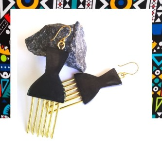 African Bone and Brass Comb Earrings