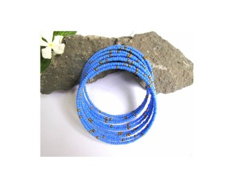 African Afri Spiraled Beaded Bronze and Sky Blue Mix Bracelets for All Wrist Sizes