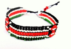 African Beaded Kenyan Flag  Bracelets with Adjustable Knotted Ends that are Adjusted as to your Wrist Size