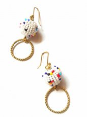 African Beaded Multi-Colored Ball and Brass Circles Hang-Drop Earrings