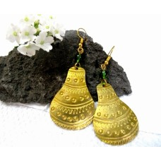 African All Brass and Engraved Calabash Earrings